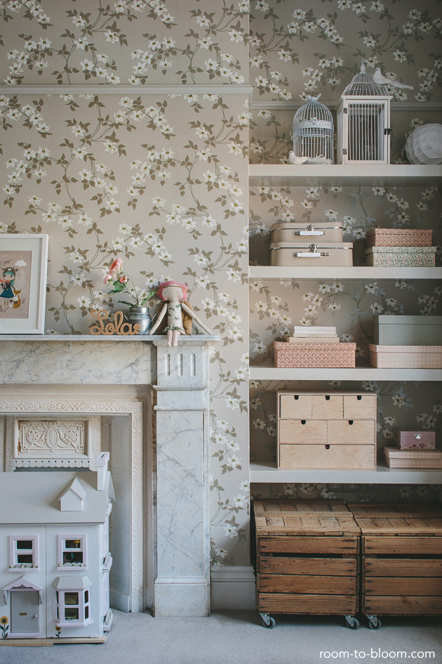 habitacion-infantil-vintage-papel-pintado-floral