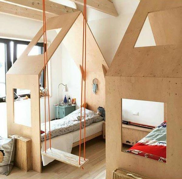 camas infantiles creativas en forma de casa