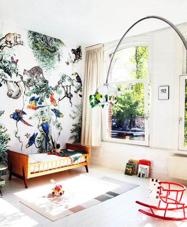 habitacion-infantil-papel-pintado-tropical