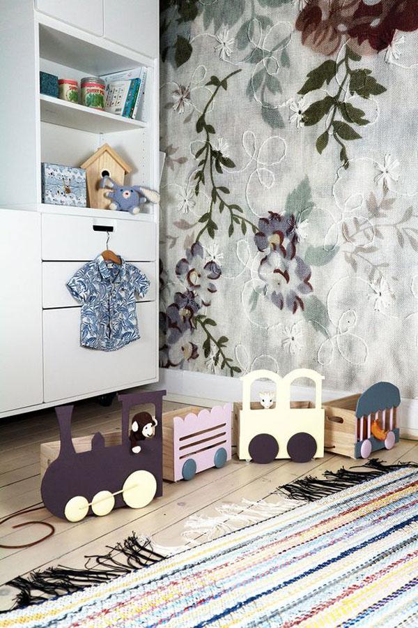 habitacion-infantil-paredes-florales