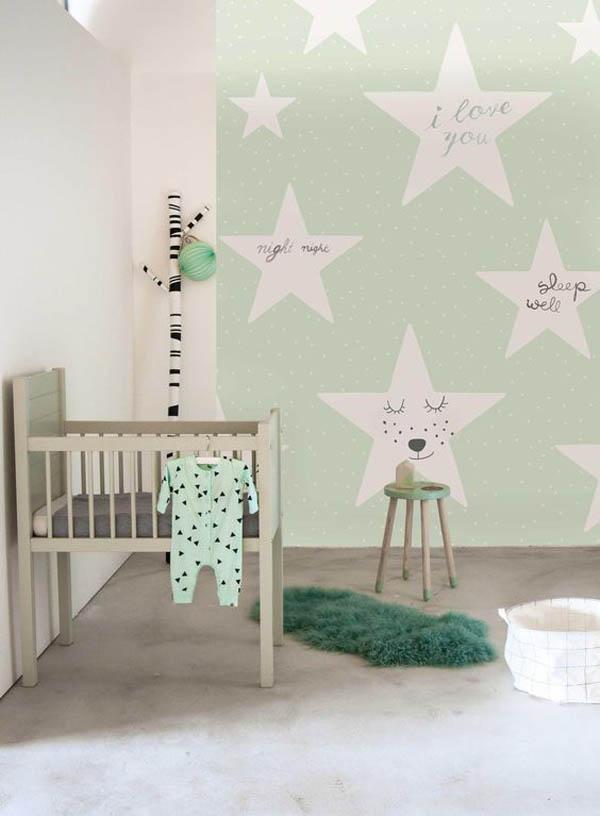 Ideas decorativas con estrellas para el cuarto infantil - Papel pintado para habitacion nina ...