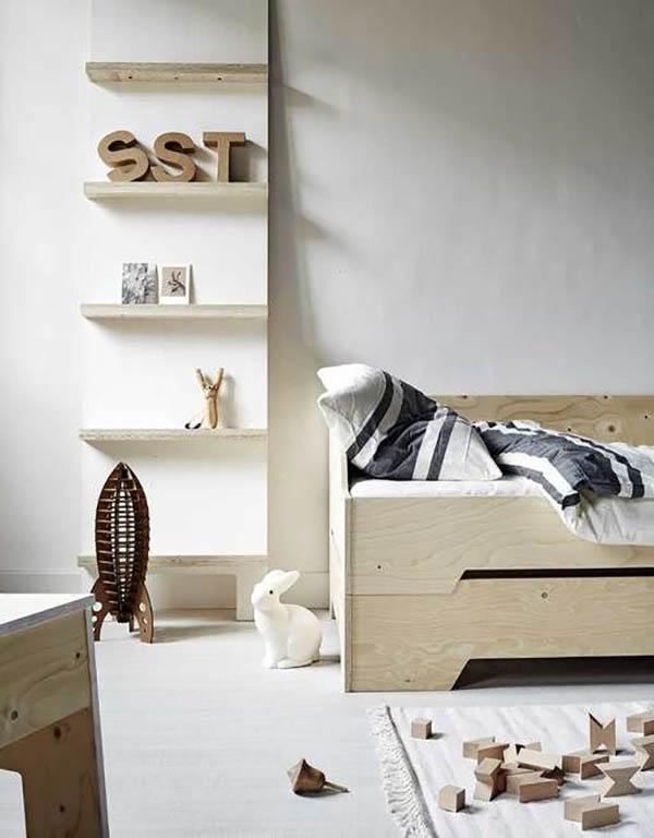 Habitaciones infantiles decoradas solo con madera decopeques for Habitacion infantil estilo nordico