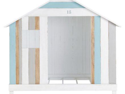 Cama-cabaña infantil 90×190 blanca y azul Océan