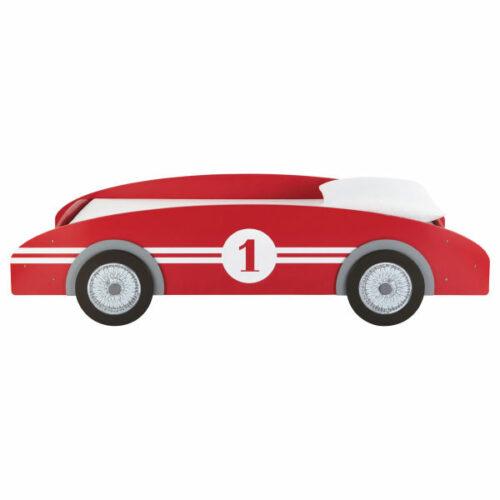 Cama-coche infantil 90 × 190 cm de madera roja Circuit