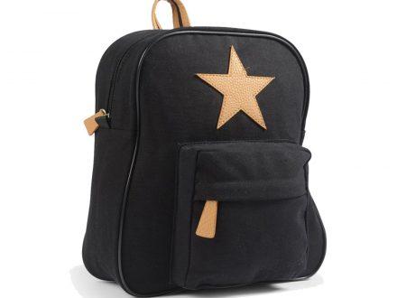 Mochila Pequeña Personalizada Negro con Estrella de Cuero