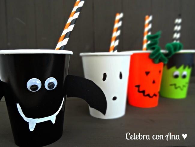 Vasos de Halloween para hacer con niños