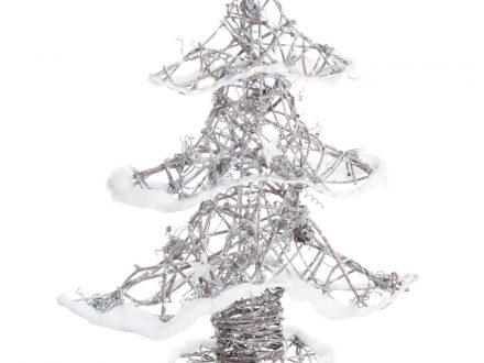 Árbol de Navidad de mimbre con efecto nieve escarchado Alt.30