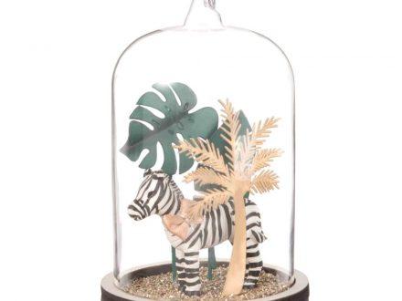 Adorno de Navidad bajo campana de cristal con decoración de cebra