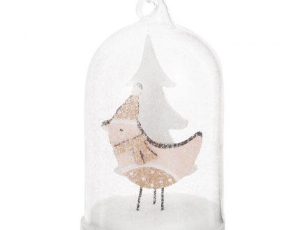 Adorno de Navidad bajo campana de cristal con decoración de pájaro