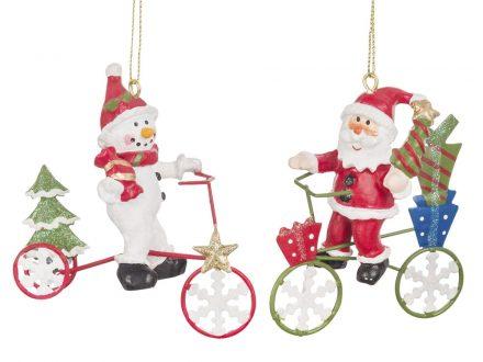 Adorno de Navidad con bicis rojas y verdes