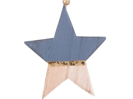 Adorno de Navidad de estrella de paulonia azul noche