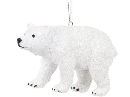 Adorno de Navidad de oso polar con purpurina