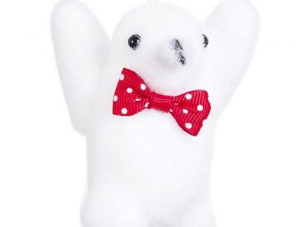 Adorno de Navidad de pingüino blanco y rojo