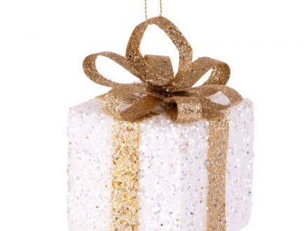 Adorno de Navidad de regalo blanco y dorado con purpurina