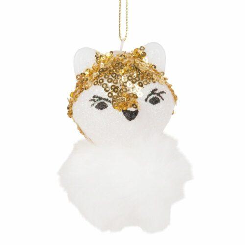 Adorno de Navidad de zorro con purpurina e imitación a piel blanca