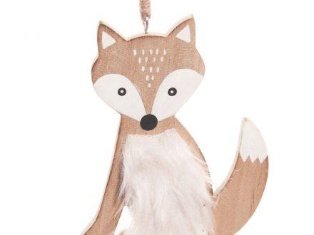 Adorno de Navidad de zorro en imitación a piel blanca
