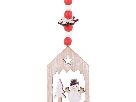 Adorno de Navidad en forma de casa y muñeco de nieve