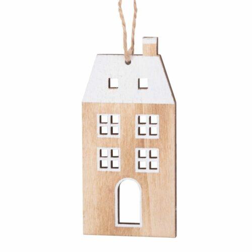 Adorno de Navidad en forma de casita con estampado