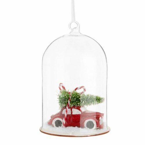 Adorno de Navidad en forma de coche y árbol bajo campana de cristal