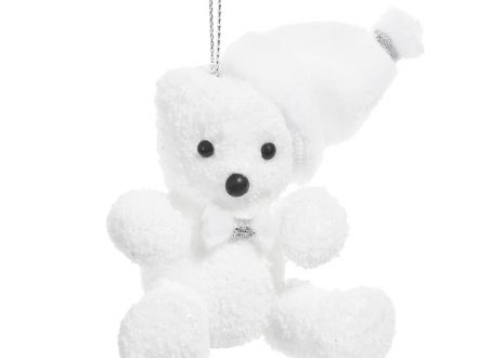 Adorno de Navidad en forma de oso blanco