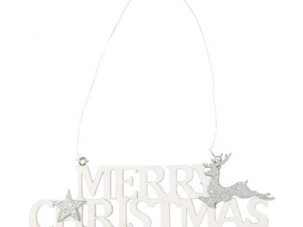 Adorno de Navidad en forma de palabra blanca con motivos decorativos plateados
