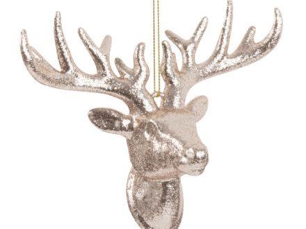 Adorno de Navidad en forma de trofeo de reno dorado