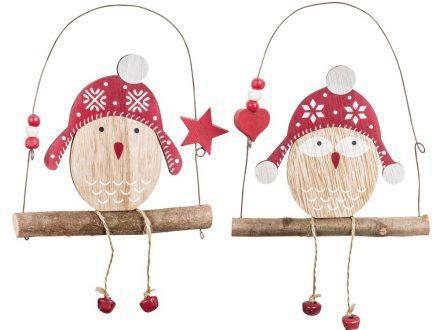 Adornos de Navidad para colgar lechuzas sobre columpios