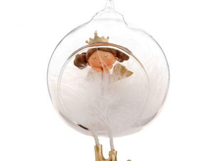 Bola de Navidad abierta de cristal con princesa vestida de blanco