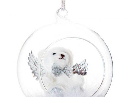 Bola de Navidad abierta de cristal y osito blanco