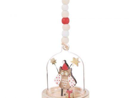 Bola de Navidad búho bajo campana de cristal