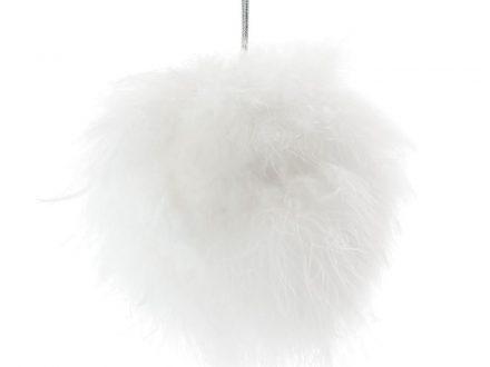Bola de Navidad con plumas de algodón blanco