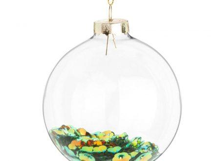 Bola de Navidad de cristal con confeti multicolor