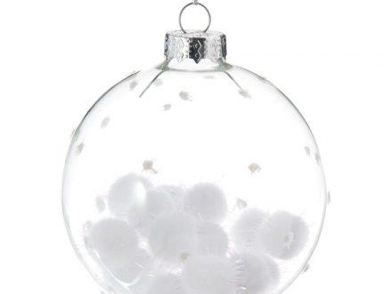 Bola de Navidad de cristal con copos blancos irisados