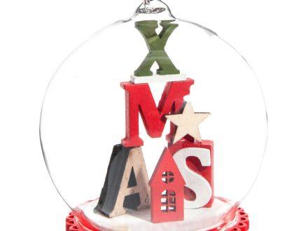 Bola de Navidad de cristal con decoración de letras multicolores