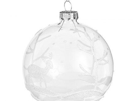 Bola de Navidad de cristal con estampado de bosque blanco y purpurina