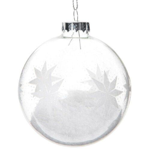 Bola de Navidad de cristal con motivos de copos de nieve