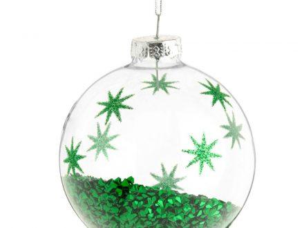 Bola de Navidad de cristal con motivos de estrellas verdes y confeti