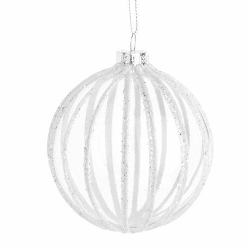 Bola de Navidad de cristal con motivos de rayas y purpurina blanca