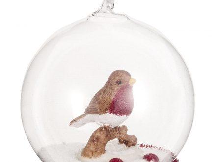 Bola de Navidad de cristal con pájaro
