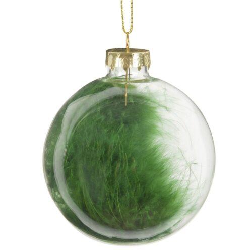 Bola de Navidad de cristal con plumas verdes