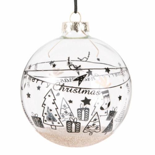 Bola de Navidad de cristal con purpurina dorada y motivos decorativos azules