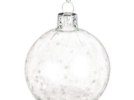 Bola de Navidad de cristal imitación a nieve blanca