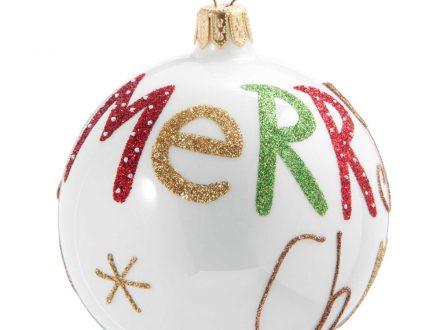 Bola de Navidad de cristal tintado blanco con estampado