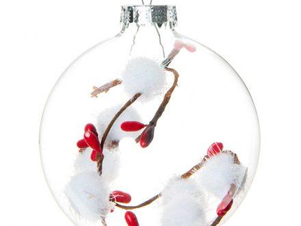 Bola de Navidad de cristal y pompones blancos