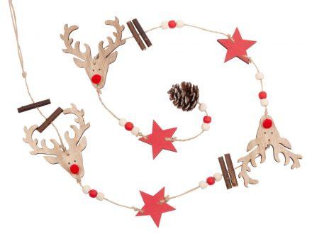 Guirnalda de Navidad con ciervo y estrellas rojas