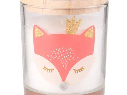 Vela de Navidad en tarro de cristal con tapa y estampado de zorro