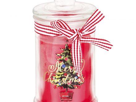 Vela de Navidad perfumada bombonera en tarro de cristal con árbol y estampado